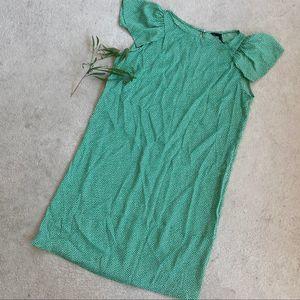 Zara Green Satin Polka Dot Shift Midi Dress